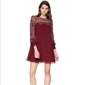 Avec Les Filles Red Shift Dress with Lace Sleeves